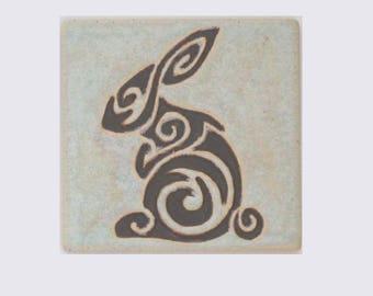 Chocolate Celtic Rabbit 4x4 Arts and Crafts MUD Pi HandmadeTile