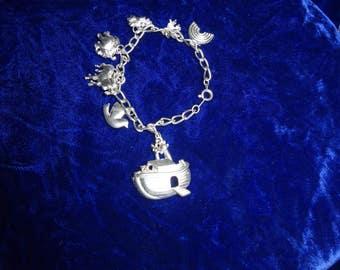 Noah's Ark Bracelet , Noah's ark charms, charm bracelet, silver tone