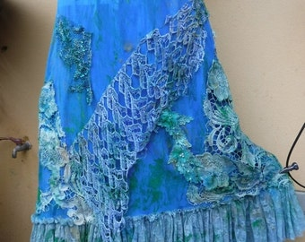 """20%OFF bohemian gothic mermaid shabby boho stretch skirt.a work of art and love...28"""" to 48"""""""