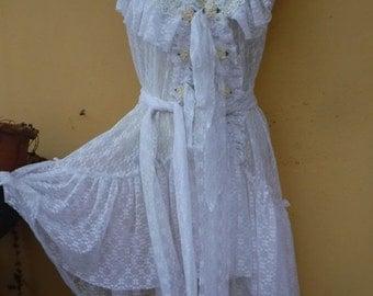 "20%OFF wedding bohemian gypsy boudoir boho lagenlook lace vest.... medium to 46"" chest..."