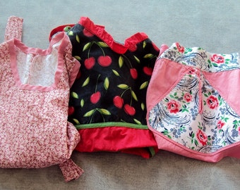 3 Vintage Cotton APRONS, Full-Bib-Half, Pink Floral, Cherries PRINTS