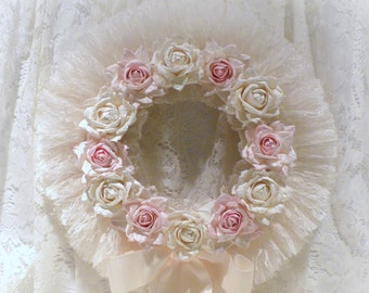 Lace Rose Wreath, Shabby Chic Decor, Lace Wreath, Shabby Chic Wall Decor, Pink Rose Wreath, Cream Lace Wreath, Door Wreath, Nursery Decor