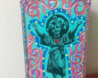 Infant baby child jesus image on wooden plaque block / rustic vintage image / divine religious / Mexican wall art small gift