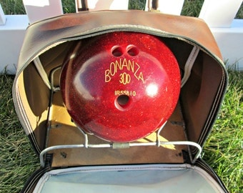 "Vintage Bowling Ball | BONANZA 300 Bowling Ball | ""CHAD"" Engraved Vintage 80s Red Glitter Bowling Ball"