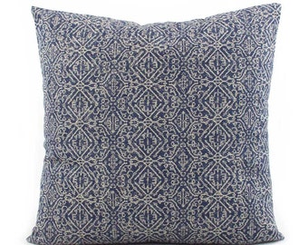 Indigo Blue Indian Pillow, Choose Your Size, Euro Sham Square or Lumbar, Blue Pillow Cover, Throw Pillow, Cushion Cover, Toss Pillow, Priya