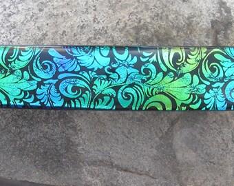 Green Blue Fused Dichroic Glass Barrette French Barrette