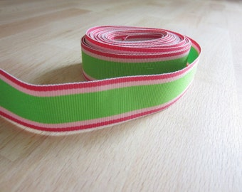 Grosgrain Ribbon 7/8 inch Stripes in Green and Pinks.  Hat Trixx Stripe Scrapbooking Hair Bow Ribbon.  5 yards.