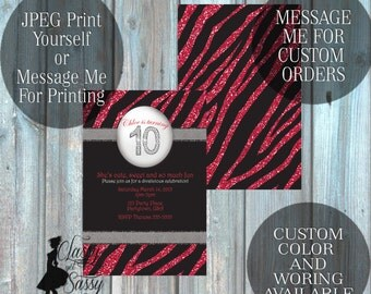 Zebra Birthday Party Inviation, Pink Glitter Party Invitation, Zebra Print Party Inviation, Tween Birthday invite 119