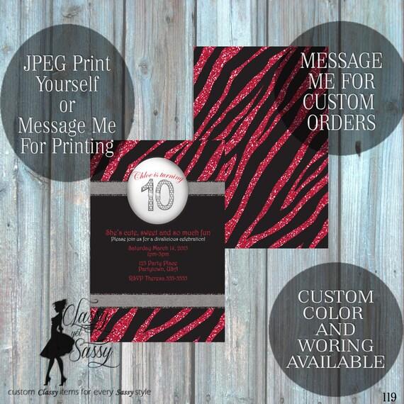 Zebra Birthday Party Inviation, Pink Glitter Party Invitation, Zebra Print Party Inviation, Tween Birthday invite 119
