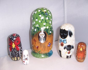 Hand painted Spring Theme stacking nesting doll set