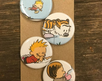 Calvin and Hobbes upcycled/recycled magnet set (4)