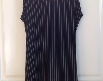 Womens vintage 90's black pinstripe swing tank dress size small