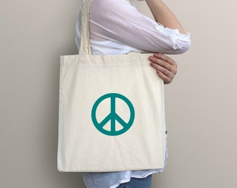 Peace Sign Tote | Tote Bag | Farmers Market Tote | Reusable Tote | Printed Tote Bag | Gym Bag | Yoga Bag | Yoga Tote | Peace Tote Bag