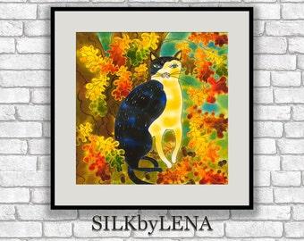 GICLEE Art Print cat artwork cat art print cat painting  wall art print silk painting fine art print