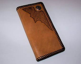 Hand Tooled Basketweave Roper Wallet w/Concho
