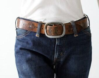 tooled leather belt, vintage 70s brown leather belt with blue floral pattern