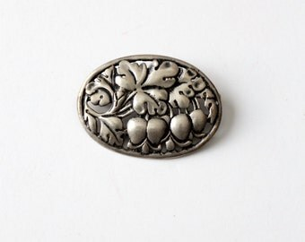 vintage floral brooch, silver oval pin