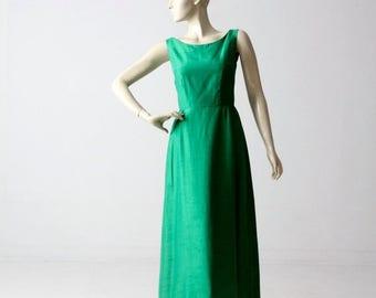 SALE 1960s silk maxi dress, vintage emerald green full gown