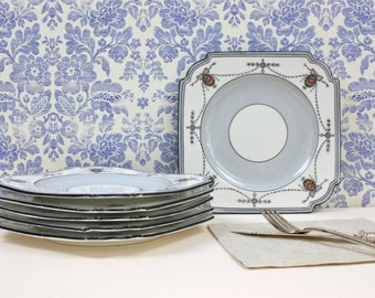 English Tea Party Plates - SET of 6 Plates, Square Plates, Swag and Medallion Design, Aynsley Bone China Plates, Shabby Chic Decor, c1940s
