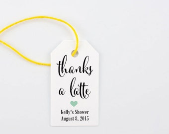 Thanks a Latte, Baby it's Cold Outside, Favor Tag, Coffee, Tea Party Favor, Teachers Gift, Hostess Thank You - Set of 25, 1.25 x 2.25 inches