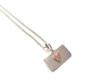 I Love You Sterling silver rectangle pendant with little heart