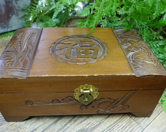 Vintage Carved Wooden Box / Asian / Jewelry Box