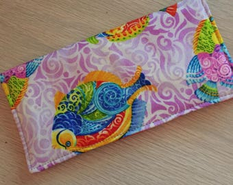 Checkbook Cover Cloth Fish Tropical