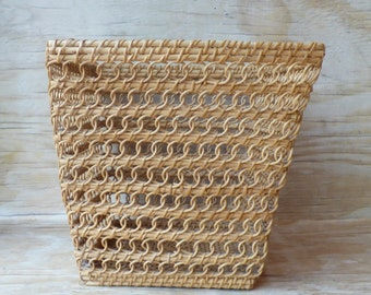 Square Wicker Basket Open Weave Waste Basket