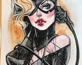 Gotham Batman Catwoman inspired Pin Up watercolor art print Carla Wyzgala Carlations