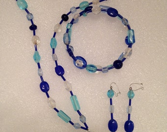One of a Kind Handmade Ceramic Pendant and Glass Beaded Necklace, Bracelet, and Earring Set in White, Frost, Turquoise, and Royal Blue