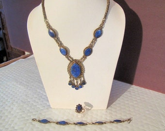 Vintage Lapis Lazuli Set: Double Link Necklace, Bracelet, and Ring from Afghanistan