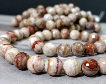A Grade 8 , 10 , 11.5 MM Mexican Crazy Lace Agate Faceted Round - Full Strand - Natural Color - Earth Tone Gemstone (MJMCAF-MS)
