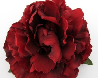 "6"" Rich Red Peony Poly Silk Flower Hair Clip"