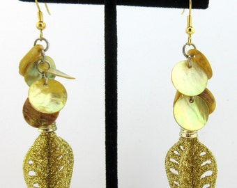 Gold Glitter Shell Holiday Ornament Earrings,Novelty,Christmas