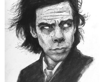 """Nick Cave 8.5"""" X 5.5"""" Giclee print of a pencil drawing"""