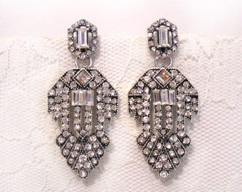 Art Deco Rhinestone Earrings Wedding Bridesmaid Dangle Jewelry Diamond Glamour Hollywood Flapper Antique Silver Gift Her Formal Evening