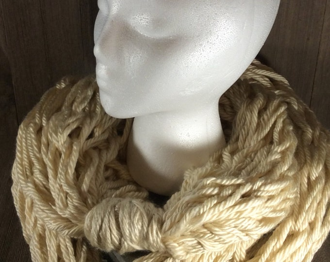 Super Bulky Arm Knit Infinity Scarf ~ Los Angeles Tan