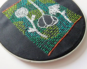 """7"""" Large Embroidery Hoop Art Modern Floral Embroidery Blue Green Embroidery Original Art Under 100 Gallery Wall Art"""