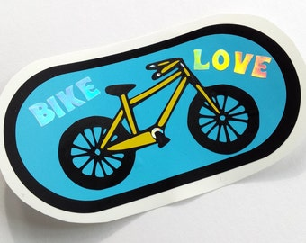 Bike Love Layered Vinyl Holographic Sticker
