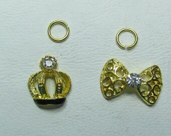 Nail Dangles: Bow with Heart, Bow, Crown and Cherries Some have Rhinestones Small 11 A