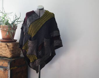 Eco friendly poncho, upcycled sweaters, repurposed sweaters, eco fashion, handmade, one of a kind, hipster fashion, hippie fashion, vest