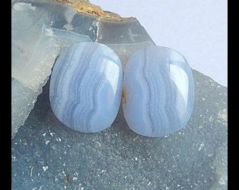 Blue Lace Agate Gemstone Cabochon Pair,30x24x4mm,13.02g