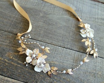 Gold Bridal Freshwater Pearl Hair Vine. Flower Crystal Boho Leaf Headpiece.Gold Mother Of Pearl Wedding Wreath Headband Tiara Crown. GISELLE