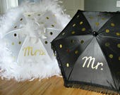MR. and MRS. Wedding Second Line Umbrellas- Bride Groom- New Orleans Made- set of 2 umbrellas- MEDIUM parasol size- Gris Gris Art
