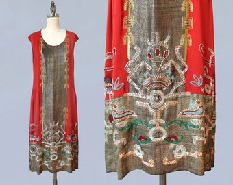 RESERVED Rare! 1920s Dress / 20s Aztec Inspired BEADED Metallic LAMÉ Dress / Embroidered and Studded! / Incredible Museum Piece!