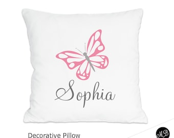 Butterfly name pillow for Baby Girl , personalized baby gift, pillow, butterfly baby pillow, name pillow, nursery pillow, CHOOSE COLORS
