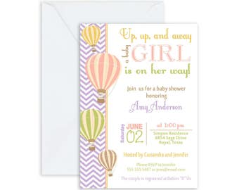 Girl Hot Air Balloon Baby Shower Invitation, up up and away, chevron baby shower invitation, coral and green, (FREE ENVELOPES)