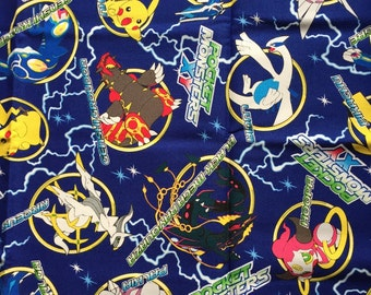 Limited SALE Pocket Monsters printed fabric Pokemon blue colour 100cm x 70cm