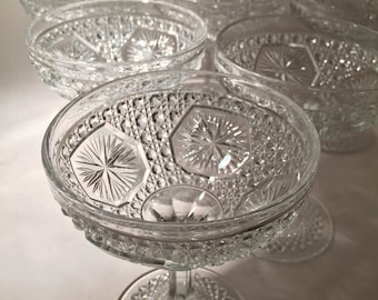 7 Presssed Glass Champagne Coupes