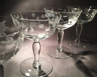 6 Etched Champagne Coupes